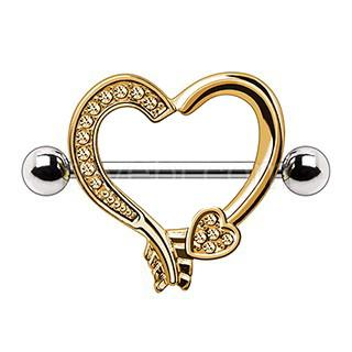 Gold Plated Arrow Heart Nipple Shield