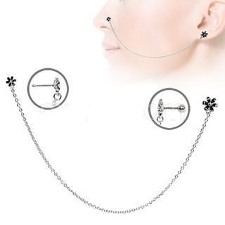 316L Stainless Steel Flower Chain Nose + Cartilage Earring