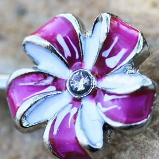 316L Stainless Steel Purple Flower Pinwheel Nipple Bar