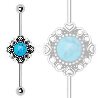 316L Stainless Steel Vintage Charm Industrial Barbell With Turquoise Stone