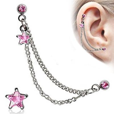 Silver CZ Star Cartilage Earring - Pink
