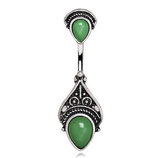 316L Stainless Steel Green Victorian Design Navel Ring