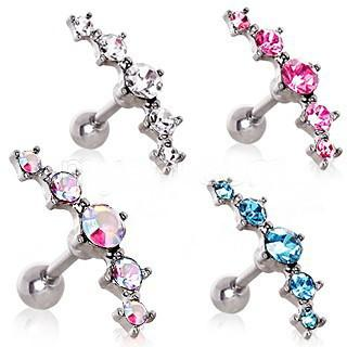 316L Surgical Steel Curved Five CZ Cartilage Earring