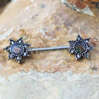 316L Stainless Steel Abalone Shell Inlay Star Nipple Bar