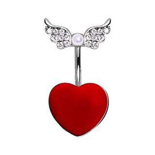 Red Heart Navel Ring With Soaring Gemmed Wings and Pearl