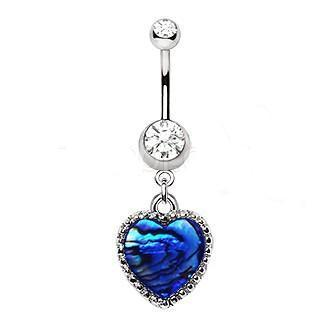 316L Stainless Steel Abalone Shell Heart Dangle Navel Ring