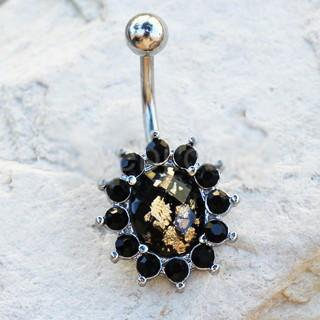 316L Stainless Steel Golden Flake Black Flower Navel Ring