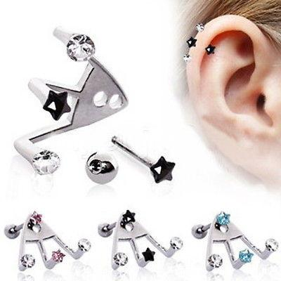 Trident Triple Star / Round CZ Cartilage Earring - Hot!