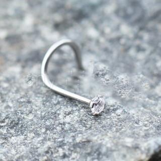 316L Stainless Steel Prong Set CZ Screw Nose Ring
