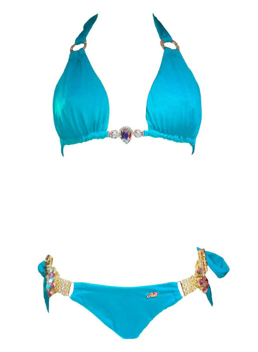 Amber Luxury Top & Tie Side Bottom - Turquoise