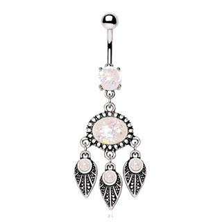 316L Stainless Steel Native Feather Wind Chime Navel Ring With Synthetic Opal