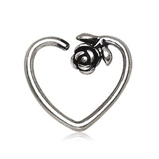 316L Stainless Steel Rose Heart Cartilage Earring