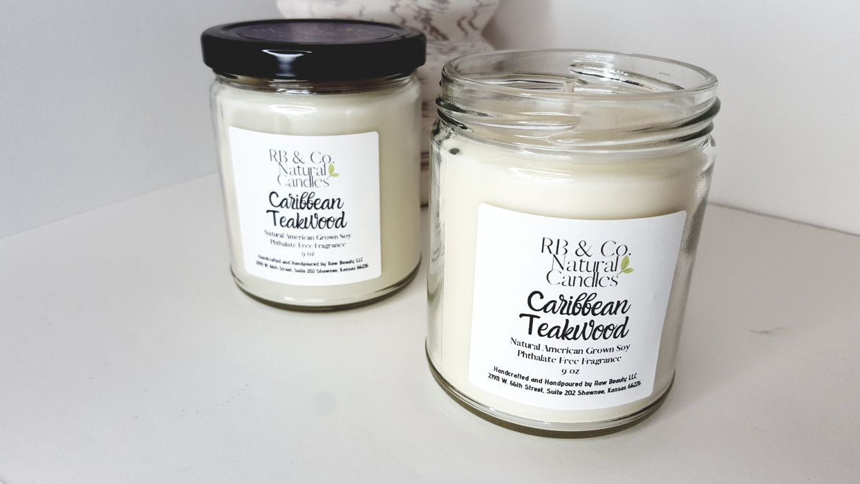 Caribbean Teakwood | Natural Soy Candle | Hand-Poured and Hand-Crafted