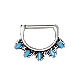 316L Stainless Steel Turquoise Tribal Nipple Clicker Ring