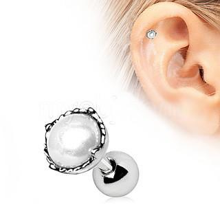 316L Stainless Steel Crown Pearl Cartilage Earring