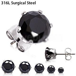 Pair of 316L Surgical Steel Black Round CZ Stud Earrings