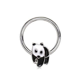 316L Stainless Panda Snap-In Captive Bead Ring / Septum Ring