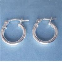 12mm Sterling Silver Hoop Earrings - (1 Pair)