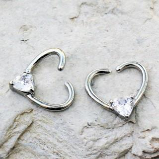 316L Stainless Steel Jeweled Heart Shaped Seamless Ring