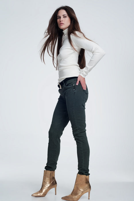Khaki Jeans With Button Closure