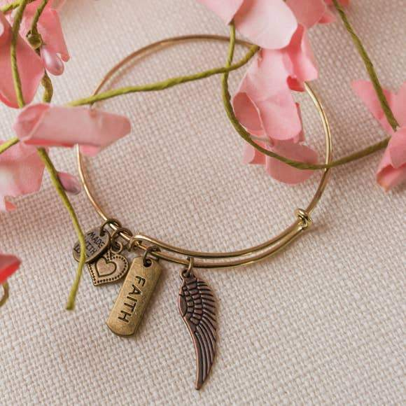 Bronze Angel Charm Angel Wing Bangle Bracelet