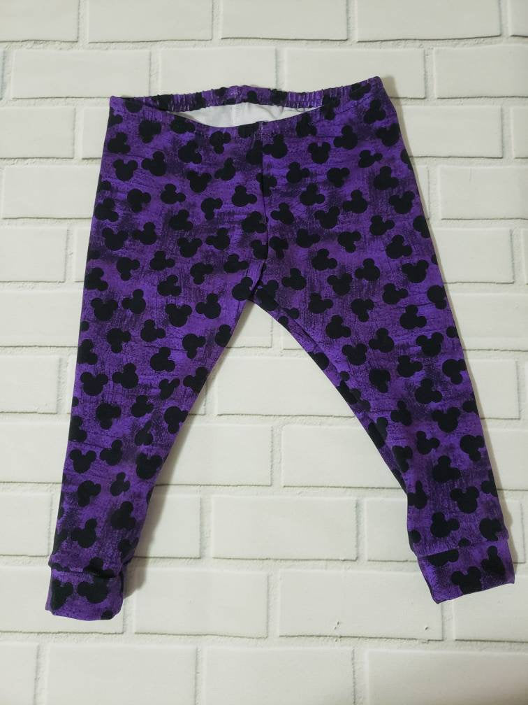 3-6 months Purple Mouse Ears Baby Leggings