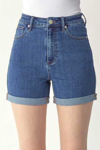 High Rise Roll Up Shorts