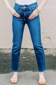 Double Button Straight Jeans / Dark