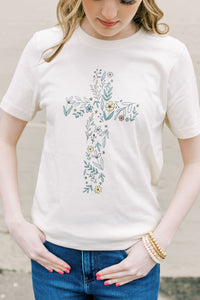 Floral Cross Graphic Tee