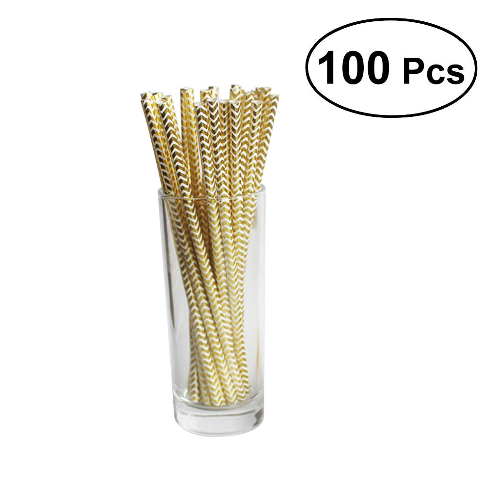 100 Disposable Glittering Paper Straws