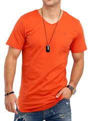 Jack & Jones Herren V-Neck T-Shirt Oversize Longshirt