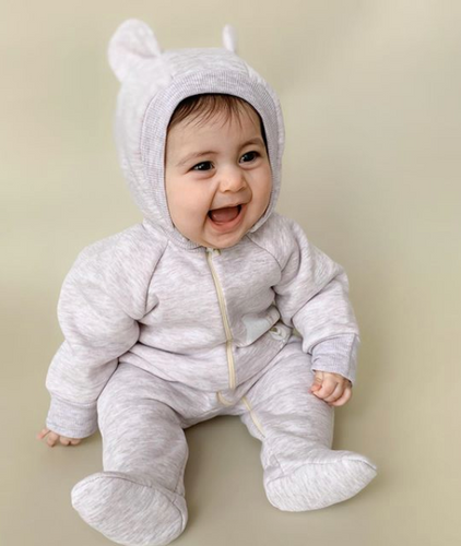 Little Girl Bear Thermal Jumpsuit With a Removable Hood