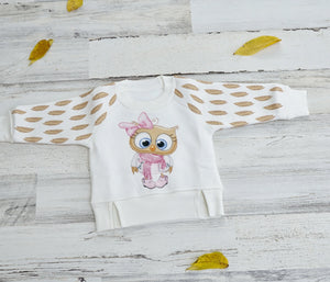 Little Owl Girls Thermal Pullover