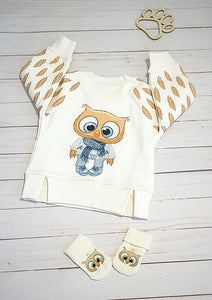 Little Owl Boy Thermal Pullover Hoodie