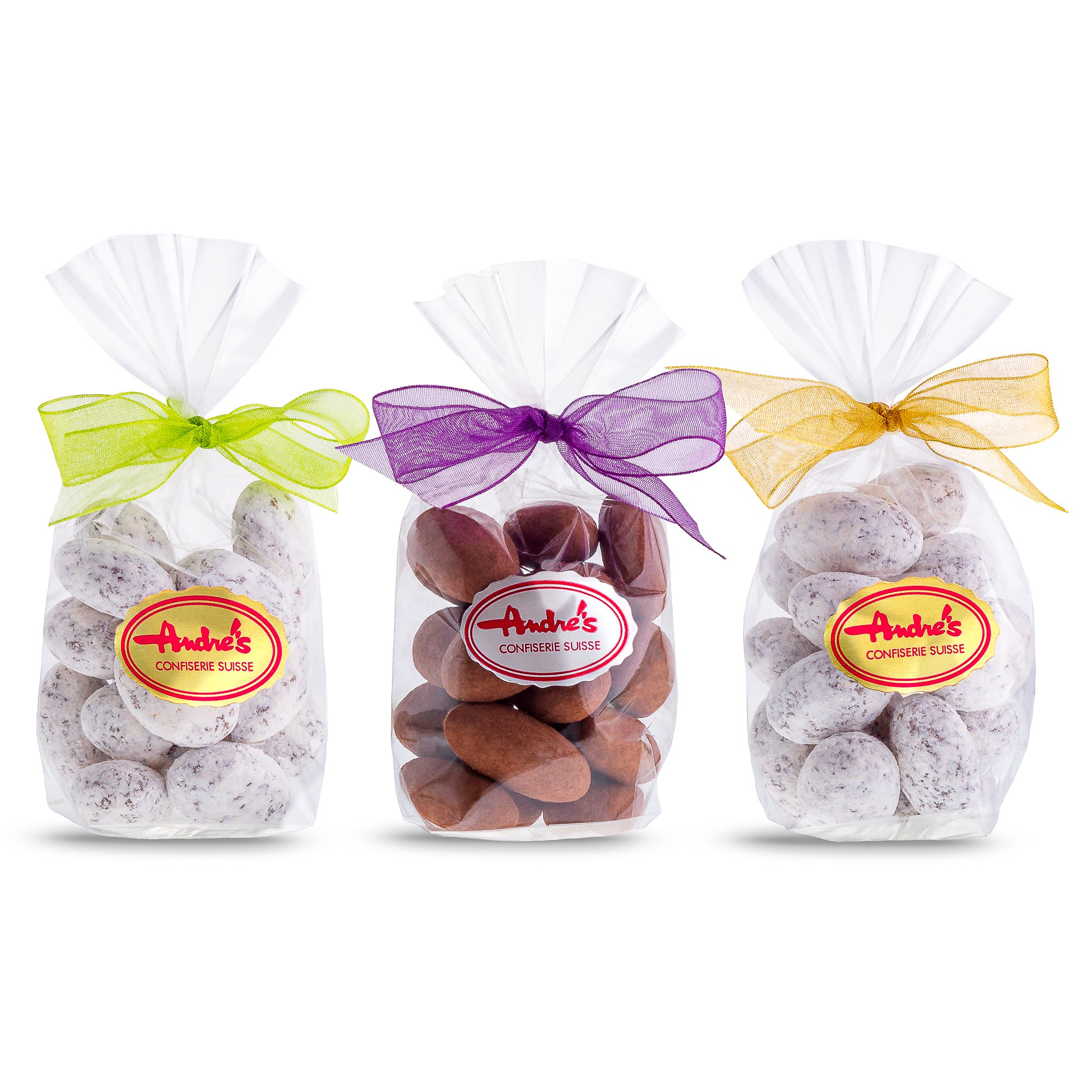 Chocolate Almonds - Favor bags with ribbon