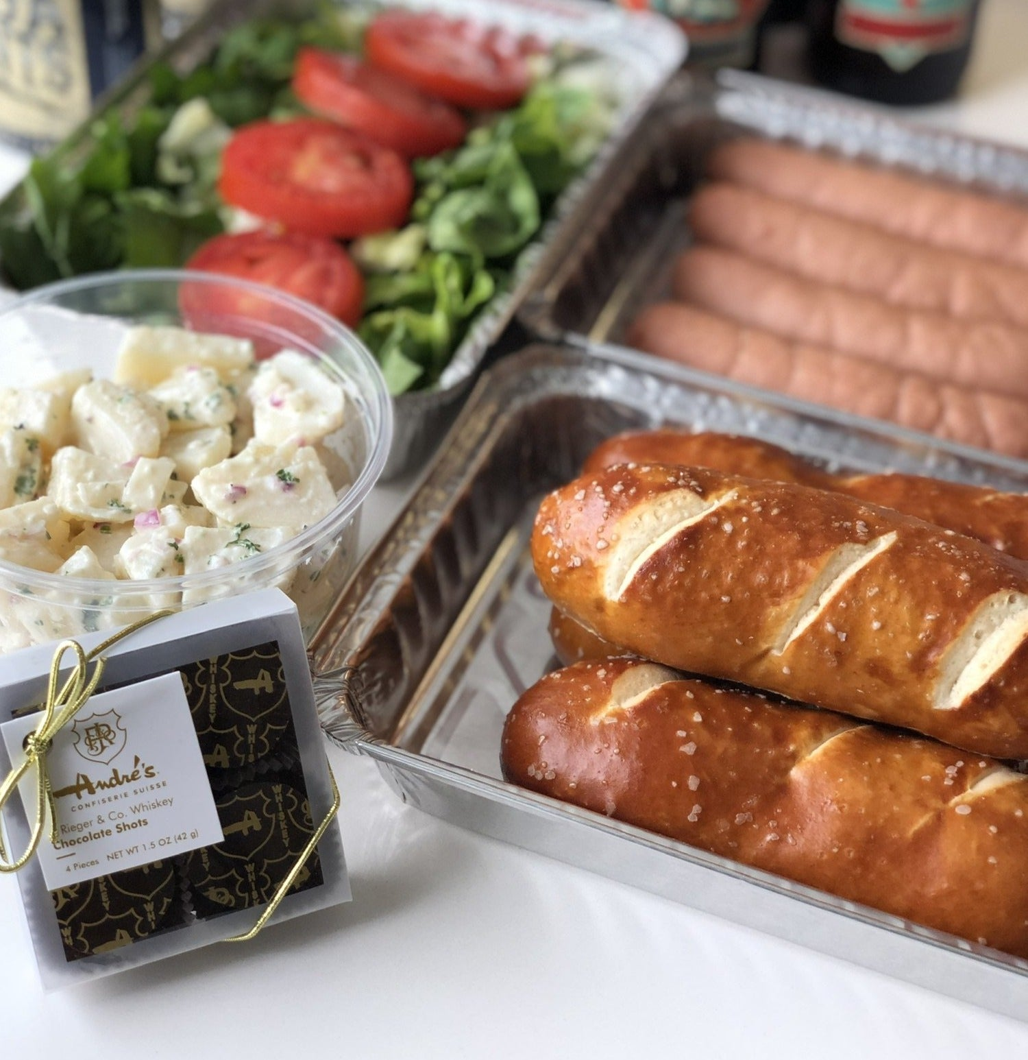 Beer N Brats Pack (Bratwurst or Knackwurst w/Bread, Salads, Root Beers & Chocolates for 4) Pick up at Overland Park Andre's