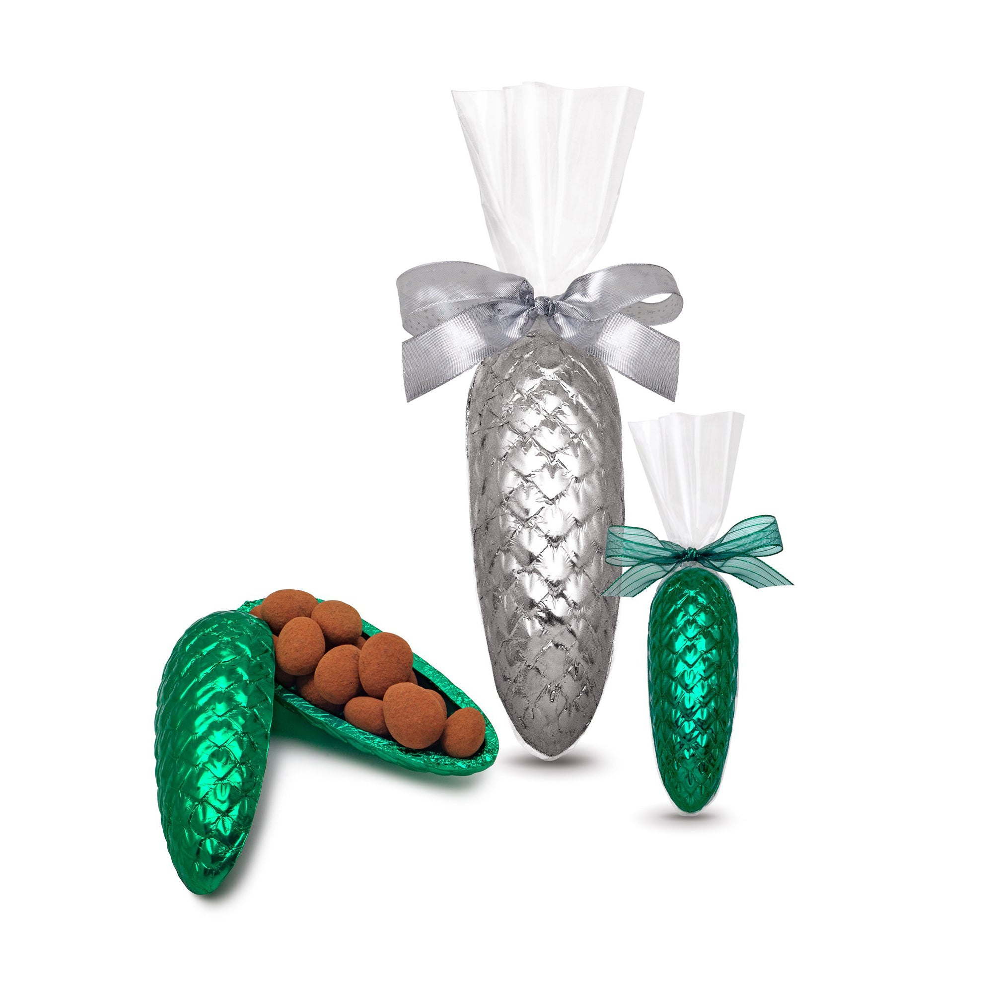 Holiday Pinecone filled with Chocolate Almonds