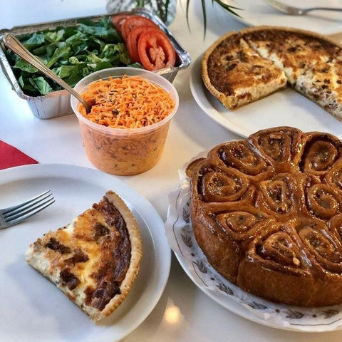 Family Brunch $60.00 (Quiche, Coffee Cake + Salads for 4) Pick up Friday or Saturday at 5018 Main St.