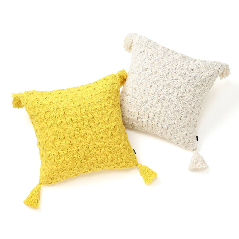 KNIT CROCHET CUSHION COVER 45 WH