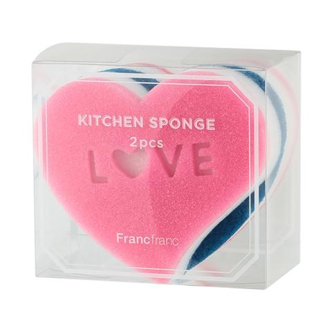 KITCHEN SPONGE HEART 2P SET