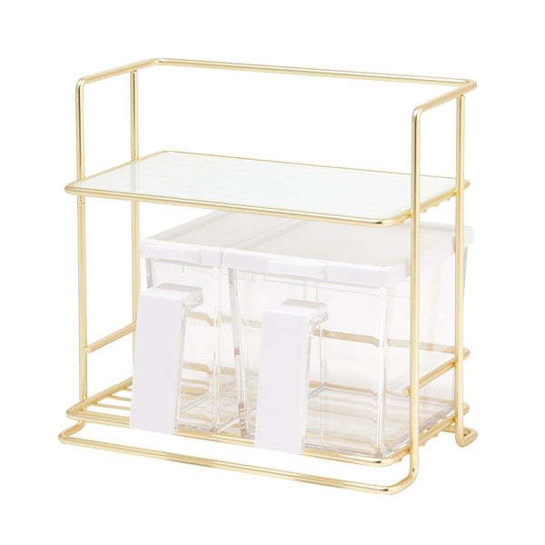KITCHEN RACK WITH GLASS Small Gold