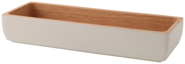 WOODEN Rect Cutlery Case White