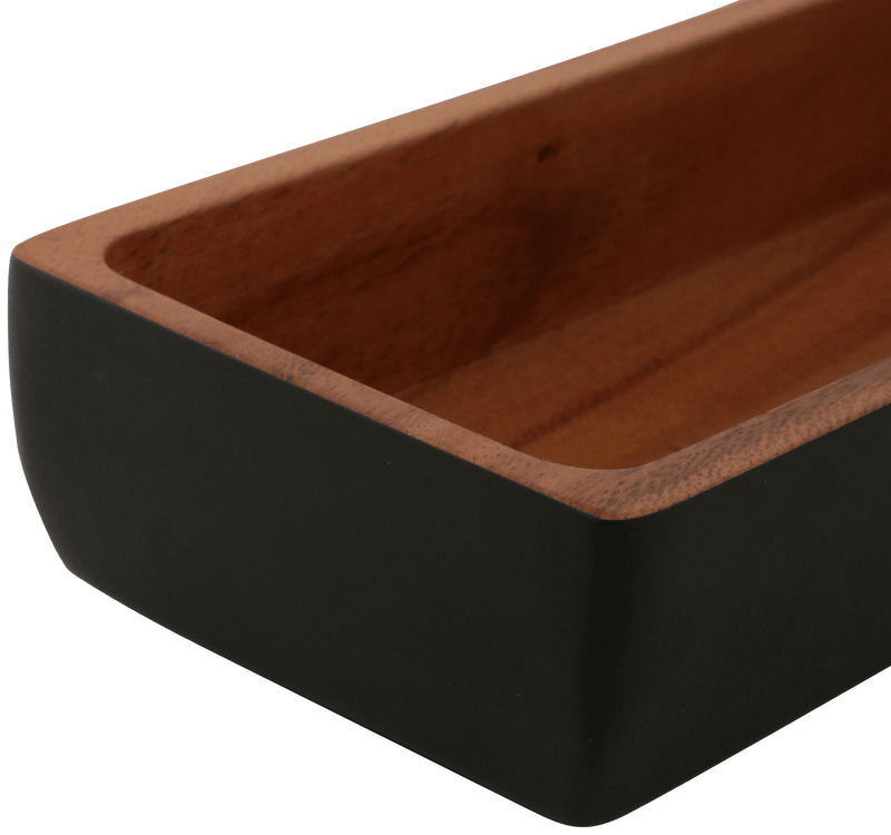 WOODEN Rect Cutlery Case Black