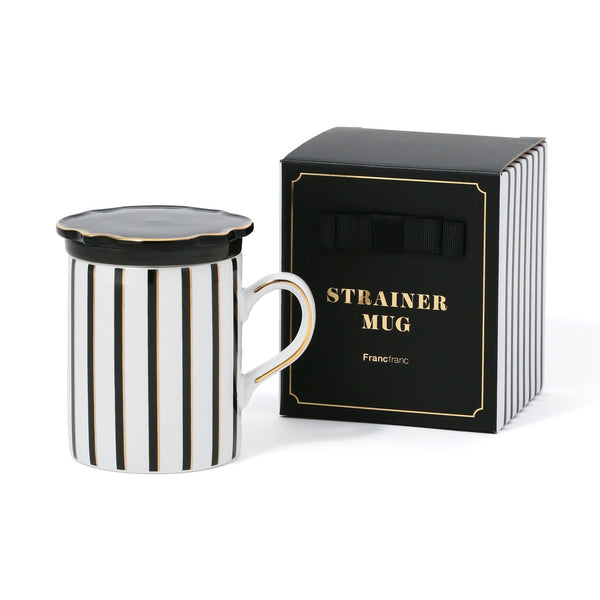 STRAINER MUG STRIPE Black