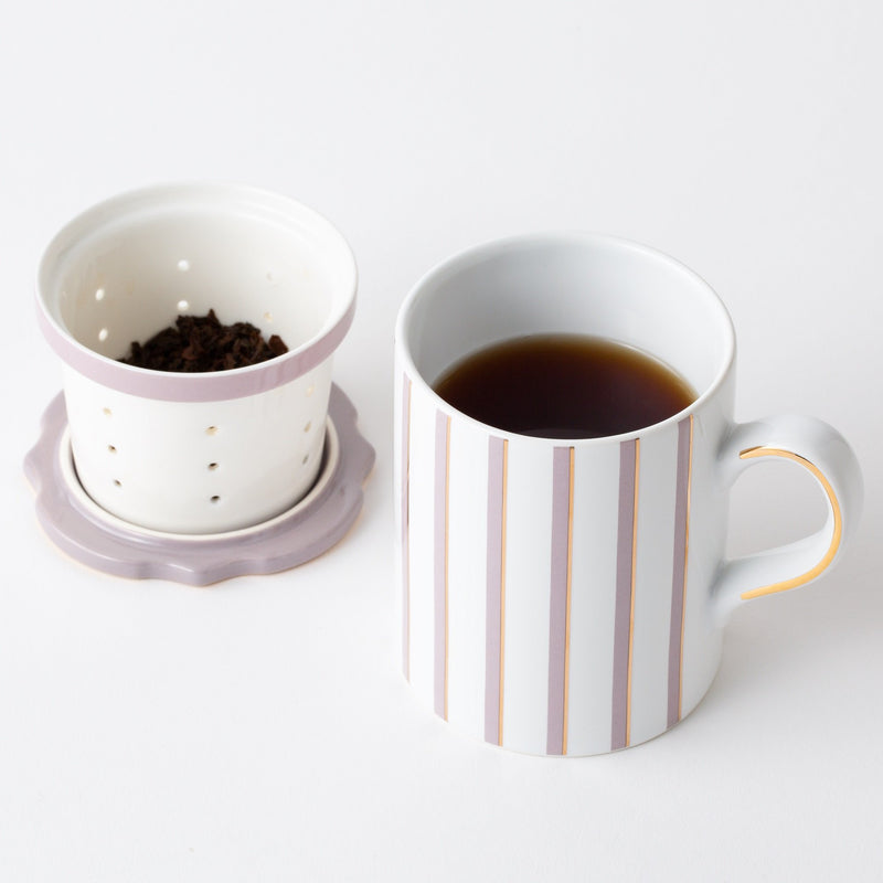 STRAINER MUG STRIPE Gray