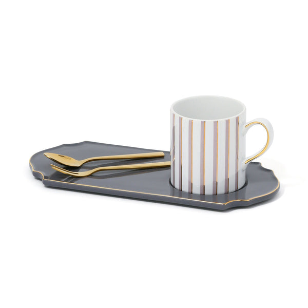 MUG&PLATE WITH CUTLERY SET Dark Gray