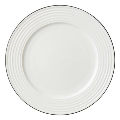BONE CHINA WAVY Line Plate Large Black