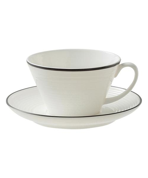 BONE CHINA WAVY Line Cup & Saucer Black
