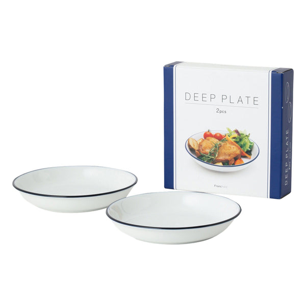 BLUE RIM Deep Plate 2P Set