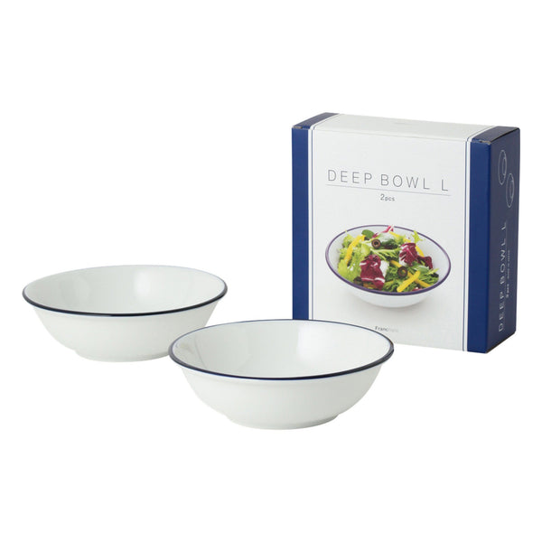 BLUE RIM Deep Bowl 2P Set